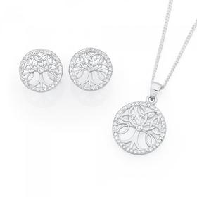Sterling-Silver-Cubic-Zirconia-Tree-of-Life-Earring-Pendant-Set on sale