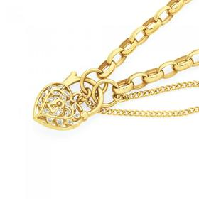 9ct-Gold-19cm-Solid-Belcher-Diamond-Set-Padlock-Bracelet on sale