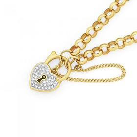 9ct-Gold-Diamond-19cm-Belcher-Padlock-Bracelet on sale