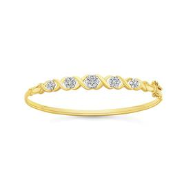 9ct-Gold-Diamond-Hugs-Kisses-Bangle on sale
