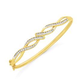 9ct-Gold-Diamond-Miracle-Set-Swirl-Bangle on sale