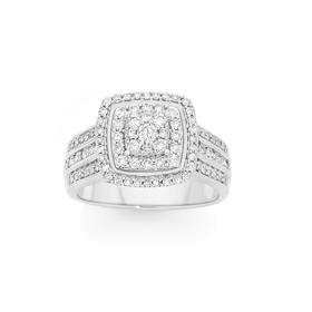 9ct-White-Gold-Diamond-Cushion-Shape-Cluster-Ring on sale