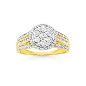 9ct-Gold-Diamond-Round-Cluster-Ring on sale