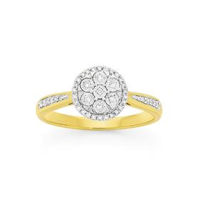 9ct-Gold-Diamond-Miracle-Set-Round-Cluster-Shoulder-Set-Ring on sale