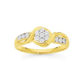 9ct-Gold-Diamond-Miracle-Set-Flower-Twist-Ring on sale