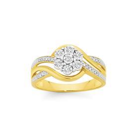 9ct-Gold-Diamond-Flower-Wrap-Ring on sale