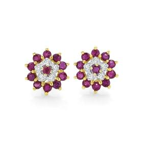 9ct-Gold-Ruby-and-Diamond-Flower-Stud-Earrings on sale