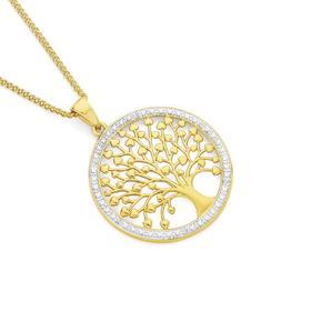 9ct-Gold-Diamond-Tree-of-Life-in-Circle-Pendant on sale