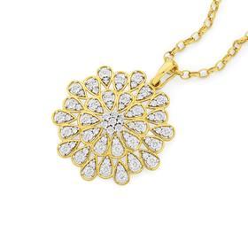 9ct-Gold-Diamond-Starburst-Pendant on sale