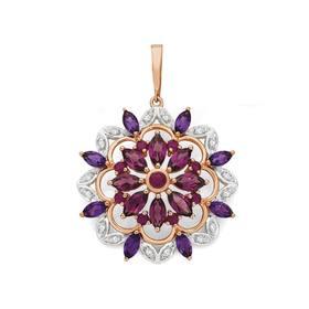 9ct-Rose-Gold-Ruby-Amethyst-Rhodolite-Garnet-Diamond-Starburst-Enhancer-Pendant on sale