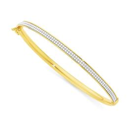 9ct-Gold-65mm-Stardust-Glitter-Oval-Bangle on sale
