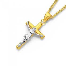 9ct-Gold-Two-Tone-Crucifix-Pendant on sale