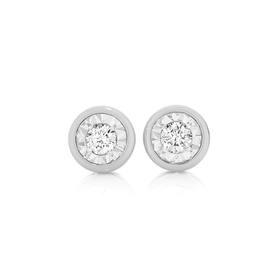 9ct-White-Gold-Diamond-Bezel-Set-Stud-Earrings on sale