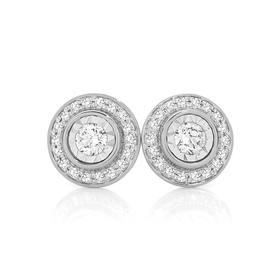 9ct-White-Gold-Diamond-Halo-Stud-Earrings on sale
