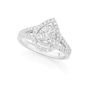 18ct-White-Gold-Diamond-Pear-Shape-Ring on sale