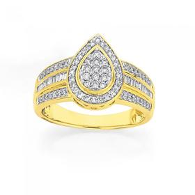 9ct-Gold-Diamond-Pear-Shape-Dress-Ring on sale