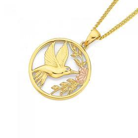 9ct-Gold-Three-Tone-Hummingbird-Pendant on sale