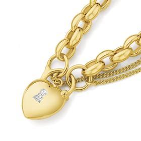 9ct-Gold-19cm-Solid-Belcher-Diamond-Set-Padlock-Bracelet on sale