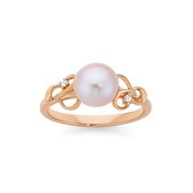 9ct-Rose-Gold-Cultured-Freshwater-Pearl-Diamond-Swirl-Filigree-Ring on sale