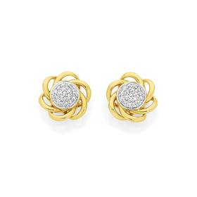 9ct-Gold-Diamond-Cluster-Multi-Swirl-Stud-Earrings on sale