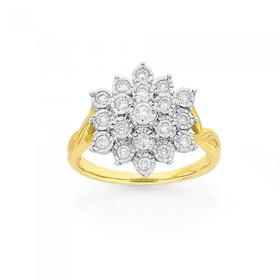 9ct-Gold-Diamond-Large-Flower-Dress-Ring on sale