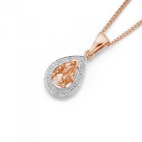 9ct-Rose-Gold-Morganite-Diamond-Pear-Pendant on sale