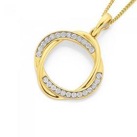 9ct-Gold-Diamond-Open-Intertwined-Double-Oval-Shape-Pendant on sale