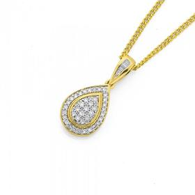 9ct-Gold-Diamond-Cluster-Pear-Shape-Pendant on sale