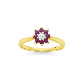 9ct-Gold-Natural-Ruby-Diamond-Petite-Flower-Ring on sale