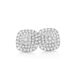 9ct-White-Gold-Diamond-Pave-Cushion-Shape-Cluster-Stud-Earrings on sale
