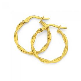 9ct-Gold-15mm-Entwined-Hoop-Earrings on sale