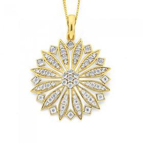 9ct-Gold-Diamond-Large-Cluster-Wheel-Pendant on sale