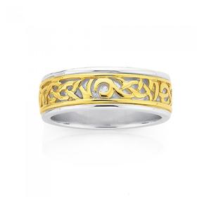 9ct-Gold-Sterling-Silver-Celtic-Gents-Ring on sale