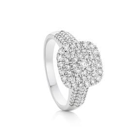 9ct-White-Gold-Diamond-Cushion-Shape-Dress-Ring on sale