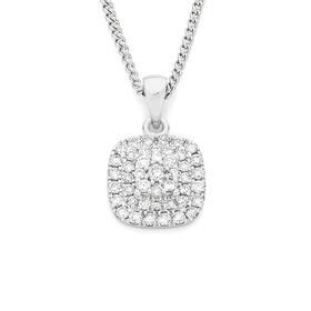 9ct-White-Gold-Diamond-Cluster-Cushion-Shape-Pendant on sale