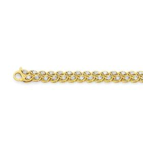 9ct-Gold-Diamond-Leave-Links-Bracelet on sale