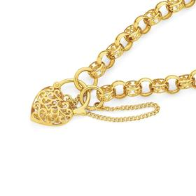 9ct-Gold-19cm-Solid-Filigree-Padlock-Bracelet on sale