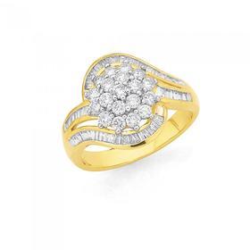 9ct-Gold-Diamond-Dress-Ring on sale
