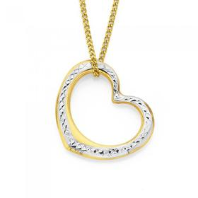 9ct-Gold-Two-Tone-Floating-Heart-Pendant on sale