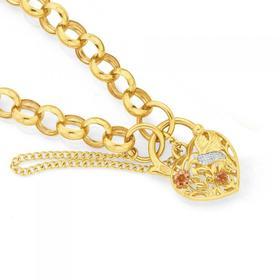 9ct-Gold-Tri-Tone-19cm-Solid-Belcher-Diamond-Padlock-Bracelet on sale