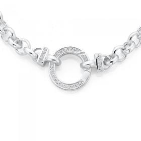 Sterling-Silver-45cm-Belcher-Necklace-With-Cubic-Zirconia-Bolt-Clip on sale