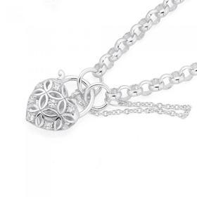 Sterling-Silver-Cubic-Zirconia-Harlequin-Padlock-Belcher-Bracelet on sale