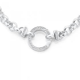 Sterling-Silver-Belcher-Bracelet-With-Cubic-Zirconia-Bolt-Clip on sale