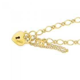 9ct-Gold-19cm-Figaro-Padlock-Bracelet on sale