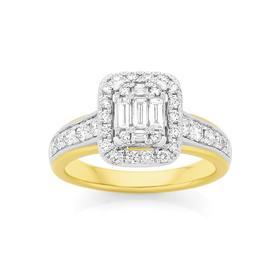 9ct-Gold-Diamond-Emerald-Shape-Dress-Ring on sale