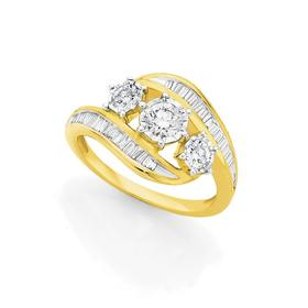 9ct-Gold-Diamond-Trilogy-Dress-Ring on sale