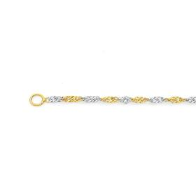 9ct-Yellow-White-Gold-45cm-Solid-Singapore-Chain on sale