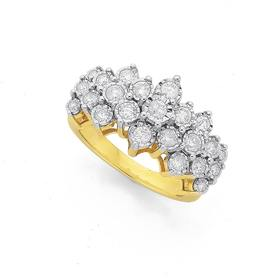 9ct-Gold-Diamond-Large-Cluster-Band on sale