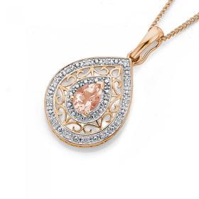 9ct-Rose-Gold-Morganite-Diamond-Pear-Shape-Enahancer on sale