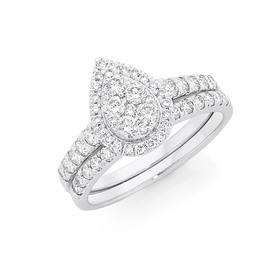 18ct-White-Gold-Pear-Shape-Bridal-Set on sale